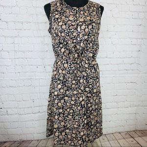 Lucky Brand Dress Cinched Waist Sleeveless Floral